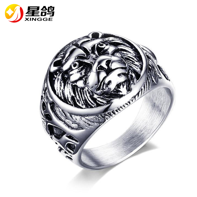 2017 New style Lion Head Ancient Silver Plated Ring Filled Jewelry Vintage Rings For Women Men Titanium Steel Ring