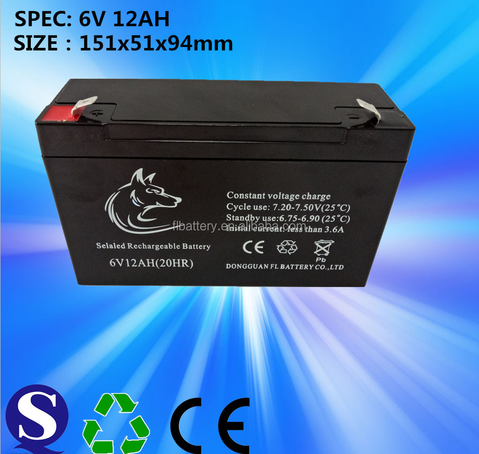 Feilang Rechargeable High Quality 6V12AH Valve Regulated Sealed Lead Acid Battery