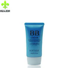 make in chain makeup plastic bb cream empty makeup tube with silver hot stampting plastic caps