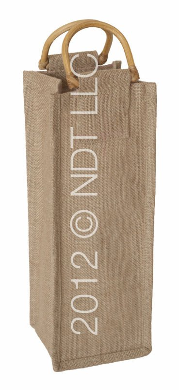 Natural Jute Wine Bag with Cane Handle WATERPROOF INSIDE