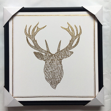 Wall mounted stag head portrait painting stretched canvas art gold foil pictures