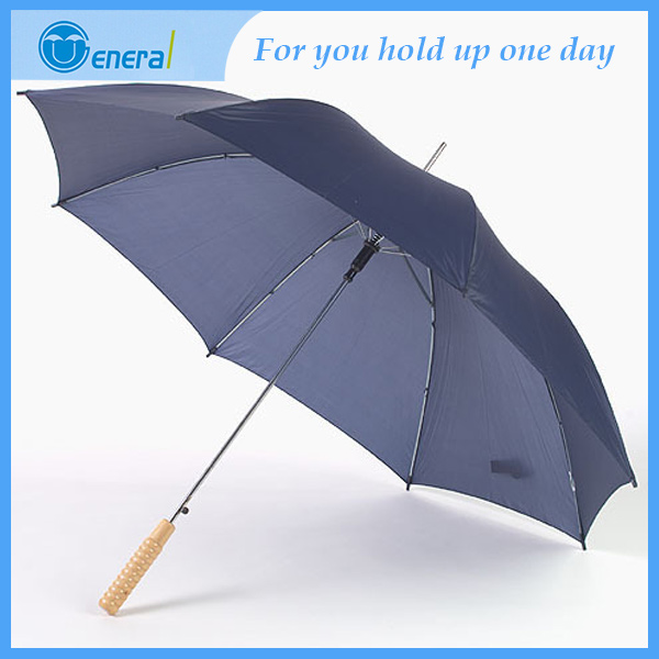wholesale cheap pongee fabric wood handle straight golf umbrella