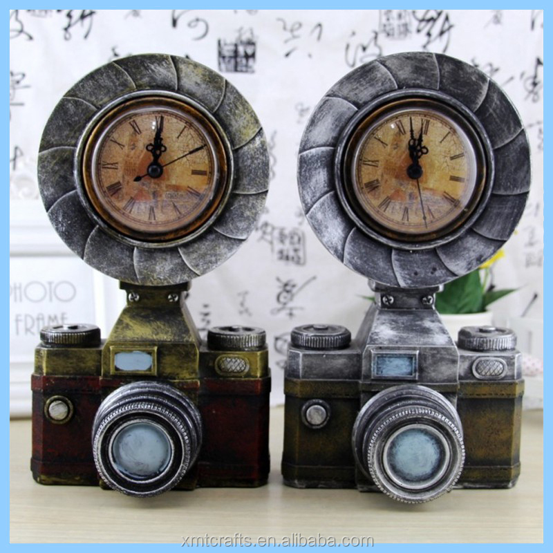 Classic Camera Model Craft Retro Home Furnishings Decoration with Vintage Clocks Figurine Miniature for Home Decor Birthday Gift