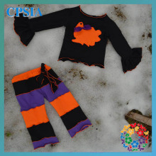 Kids Clothes Wholesale China Fall Boutique Outfit For Girl Black Orange Purple Halloween Kids Clothes Set