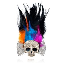 Men Brooches Black Feather Men Handmade skull Brooch Bouquet Fashion Men Fashion Lapel Pin Brooches for Party