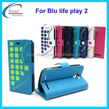 Fashion bricks magnetic flip wallet PU leather cover case for Blu life play 2