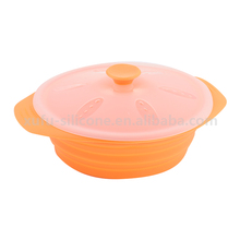 Kitchen folding strainer vegetable collapsible silicone food bowl with lid
