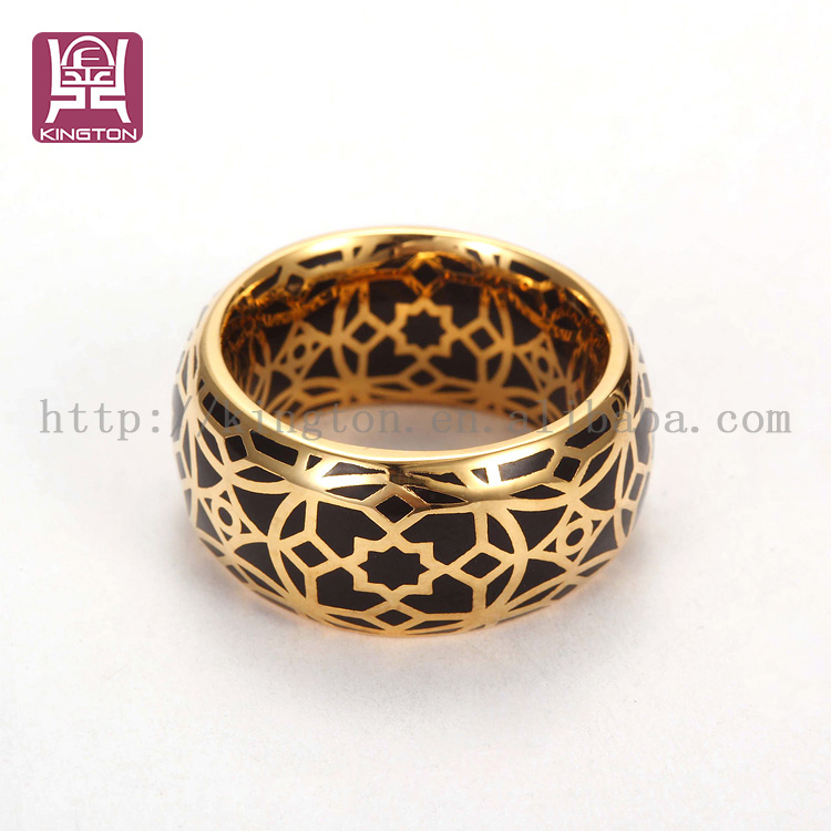 2 gram gold enamel ring in stainless steel jewelry view