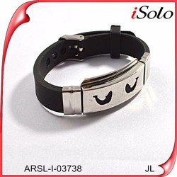 Promotional Bulk Cheap Silicone Wristband Bracelet Silicone With Metal Wristband
