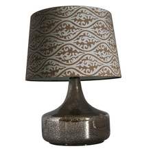 Classic drum fabric material wholesale flat glass beads wood lamp shade