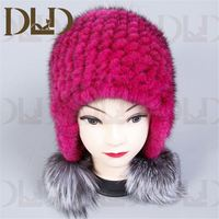 100% Good Quality wholesale new fashion hot sale mink fur hat winter fur ball animal hat with fox pom pom