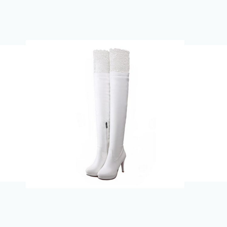 2017 women ladies winter boots genuine leather platform thigh high boots women white design high heel round toe shoes