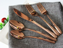 Wholesale Wedding And Hotel Rose Gold Stainless Steel Copper Cutlery Set With High Quality