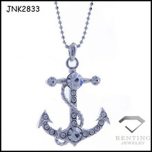 Hot Sale Alloy Nautical Anchor Pendant Necklace With Rhinestone