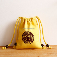 chinese supplier 100% organic cotton canvas promotional drawstring bag