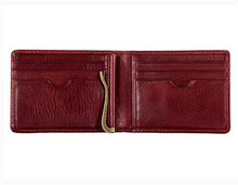 Ultra thin design men leather wallet with money clip wallet