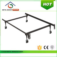 2016 hot selling super single bed frame with locking wheels