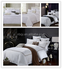 white sateen luxury hotel bed linen flat sheet,embroidery hotel duvet cover sets