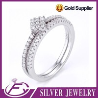 Fashion style aaa cz stone 925 sterliing silver names engraved wedding rings
