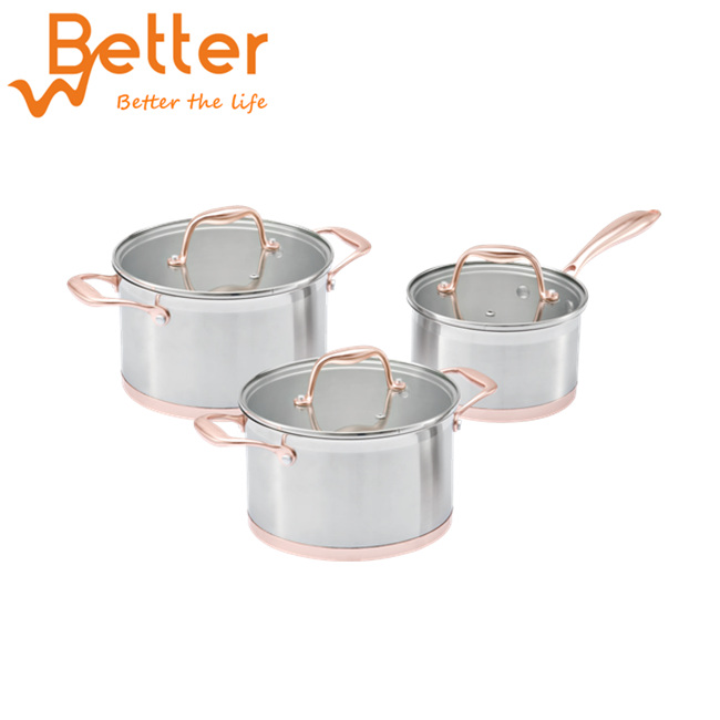 6 Piece Copper Bottom Stainless Steel Cookware