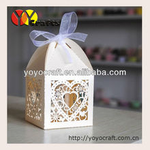 fashion latest design Laser Cut Wedding cake Box/wedding candy favor box