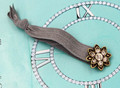 H794-130 can be also bracelet beautiful grey fabric rhinestone flower antique gold elastic hair tie for girls