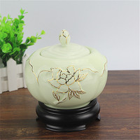 Gold line transparent porcelain jar seal decal ceramic chinese porcelain jar airless bamboo storage canister