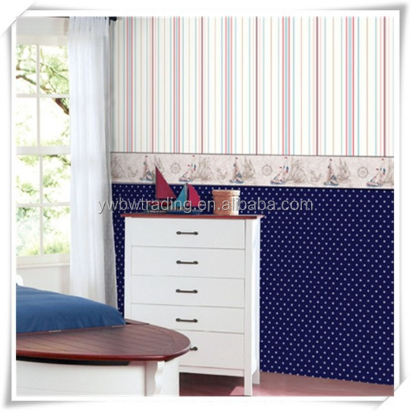hot breathable and comfortable vertical stripes dustproof self-adhesive wallpaper for child bedroom