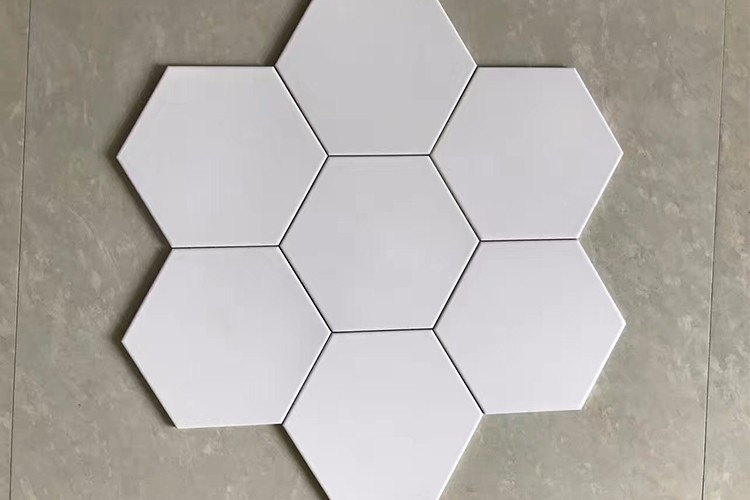 200x230mm Clean and modern design bathroom white hexagon ceramic floor tile