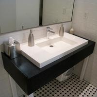 polar white countertops for modern hotel bathroom