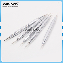 ANGNYA 2017 High Quality Silver Metal Handle Nail Art Dotting Pen Dotting Tools Set