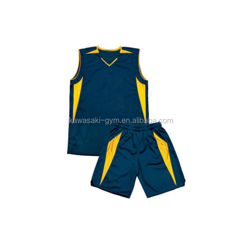 Quality custom sublimated cheap plain kids basketball uniforms color yellow