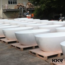 big bowl shaped solid surface freestanding bathtub round bath