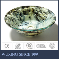 Unique design color will never fade washbasin tempered double-layer glass round sink