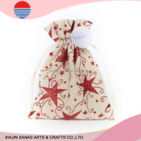 Cotton fabric gift bag draw string hot selling promotional Christmas pouch star