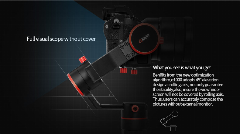 Hot FeiyuTech A1000 3-axis Stabilizer for Mirrorless and DSLR camera with Rotation angle of two axis 360 degree without limit