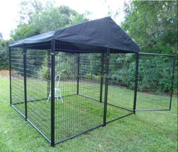 Outdoor large cheap dog run kennel with cover(China Manufacturer&ISO9001)