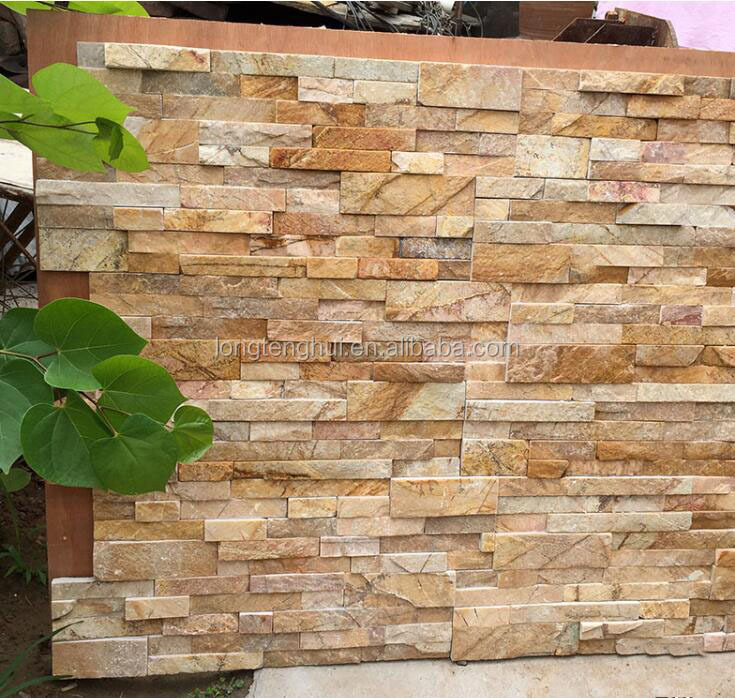 Natural Yellow Slate stone tile , Exterior stone Wall decoration