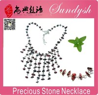 Wholesale Garnet Stone Necklace Handmade Chandelier Necklace