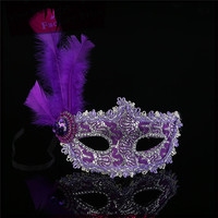 China supplier mask factory supply plastic face mask 2016 new style women most beautiful feather mask