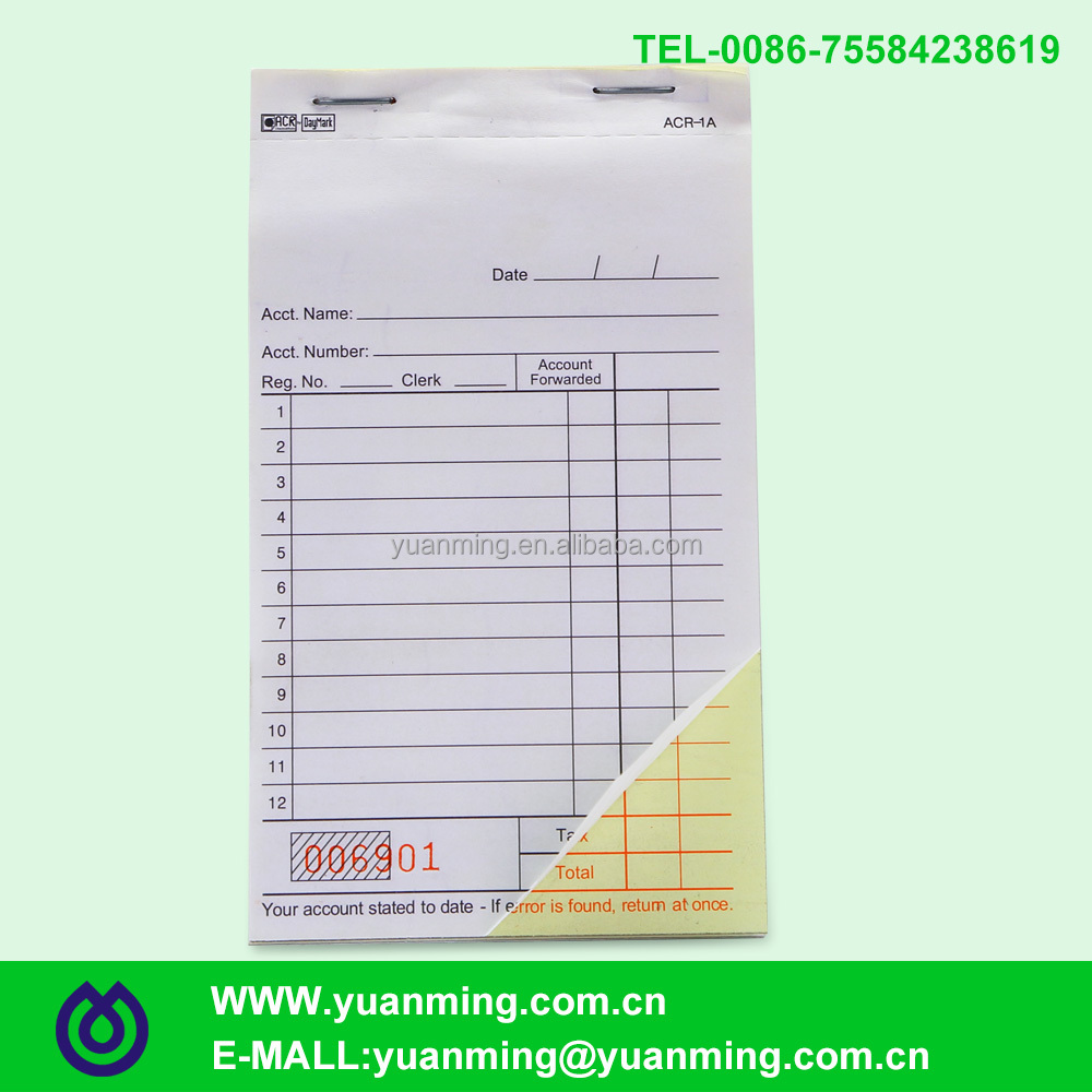 Nice-looking numbered and perforated carbonless duplicated account tax invoice book for record