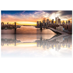 Large Size Modern Canvas Wall Art,New York Manhattan Prints Brooklyn Bridge Canvas Prints,Home Office Wall City Landscape Mural