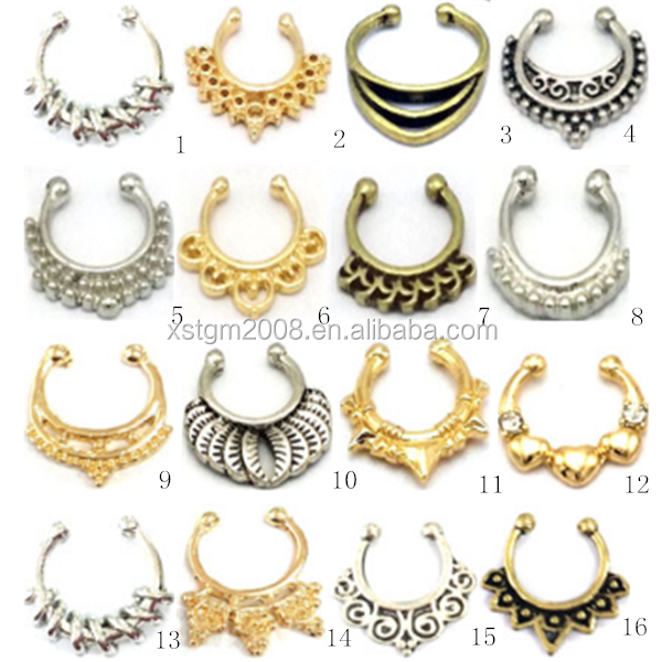 China supplier septum clicker body piercing jewelry nose rings (zinc alloy, brass, stainless steel )
