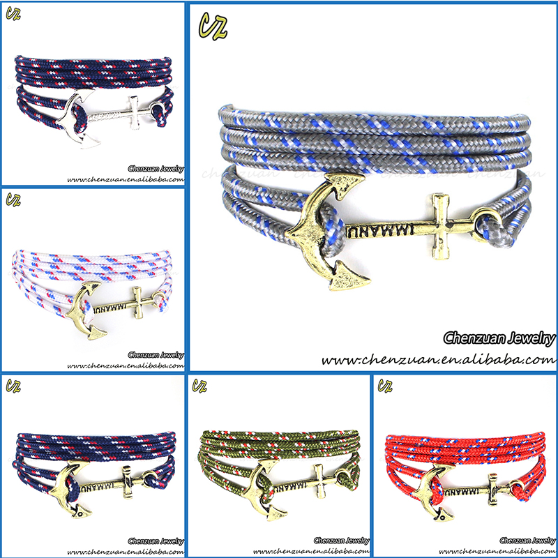 Wholesale outerdoor anchor nautical rope bracelet jewelry silver anchor rope cross bracelet