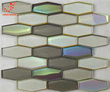 HCL04 Interior Decoration hexagonal rainbow color 2/4 inch assorted colors glass mosaic tile for wall decoration