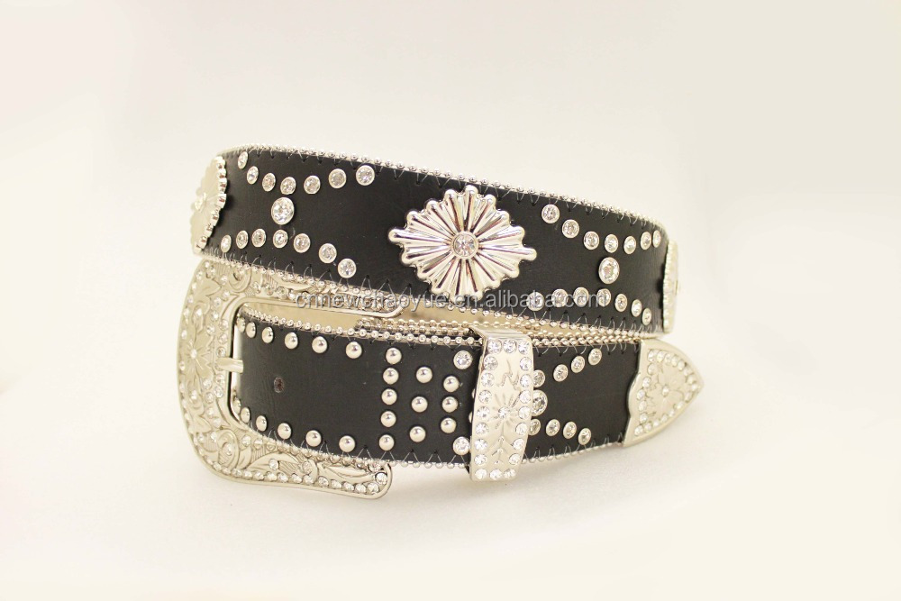 Hot Sell New Arrival Western Rhinestone Concho Leather Belt