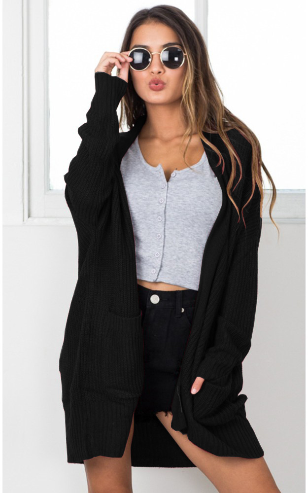 Autumn Black Woman Cardigan Knitted Sweater Open Sweater