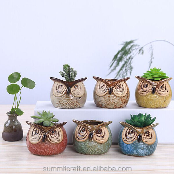 Succulent plants mini owl shape ceramic flower pots