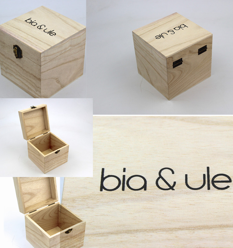 Unfinished Wooden Jewelry Box with Locking Clasp for DIY Projects Storage Case Home Decor