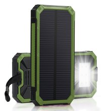 Waterproof Solar Power Bank With Strap 15000mah Solar Mobile Charger for Camping and Hiking